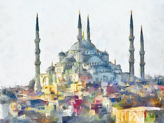 Blue mosque, Istanbul (piker77) Tags: blue urban painterly art architecture digital photoshop turkey watercolor painting interesting media natural aquarelle digitale manipulation simulation istanbul mosque peinture illusion virtual watercolour transparent acuarela tablet technique wacom stylized pintura sultanahmet imitation dap  aquarela camii aquarell emulation malerei pittura virtuale virtuel naturalmedia urbanpics    piker77wc