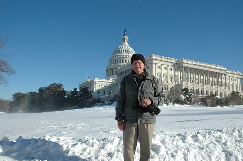 Rep. George Miller, D-Martinez, poses in front of the snow-covered Capitol on Feb. 10, 2010. Photo courtesy of Millers office.