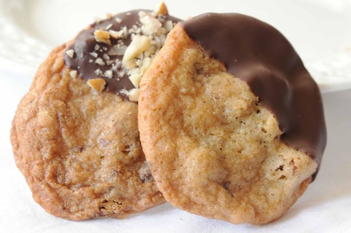 pair dipped chocolate chip cookies