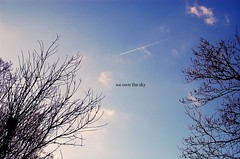 we own the sky. (coco aice.) Tags: trees sky clouds plane words nikon alice we coco own m83 d40