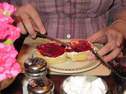 Cream tea in progress