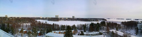 """Winter aerial panorama of Otsonlahti, a.k.a """"The calm between snowstorms"""""""