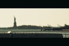 [The Avalon Serie]  (- Loomax -) Tags: urban newyork sunshine brooklyn liberty book harbor daylight glow cranes helicopter statueofliberty cinematic frontpage heliport cinemascope theavalonserie