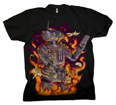 Robot Attacks : Tee-Black (raz city) Tags: boy urban dog strange face tongue death three kid clothing bottle fight friend child hand heart faces cartoon attack surreal style tshirt battle cyclops robots artsy popart shirts cuddly terror demon bolts swirl monsters lightning gentrification bleeding psychedelic creatures apparel grimreaper teeshirts tees fasion 3brothers heartless tvtvhead