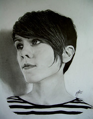 Sara Quin, Sainthood cover (blue_sunshinek) Tags: portrait blackandwhite sketch sara drawing teganandsara quin sainthoodcoversaraquin