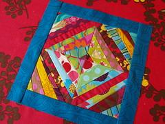 week two block (joontoons) Tags: quilting patchwork gardenparty paperpiecing annamariahorner erinmcmorris wonkyblock quiltingbeeblock stringblock
