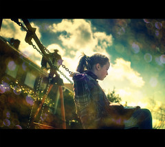 Playing with a dream (Dr Cullen) Tags: sky girl nikon bokeh swings dreamer supertramp 35mmf18 drcullen flickrgolfclub d300s clanflickr nikond300s