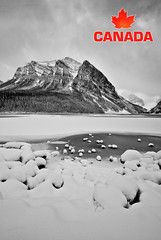 CANADA (Rachid Lamzah) Tags: winter red bw white mountain lake snow canada black cold ice contrast logo landscape grey leaf maple quebec sharp louise rachid 5photosaday lamzah