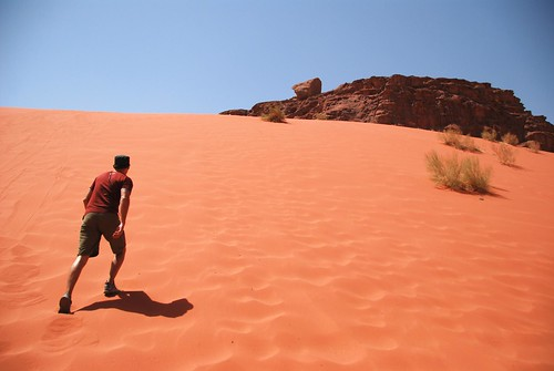 fighting an uphill battle, wadi rum