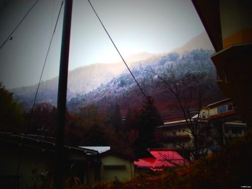 雪です;四万温泉