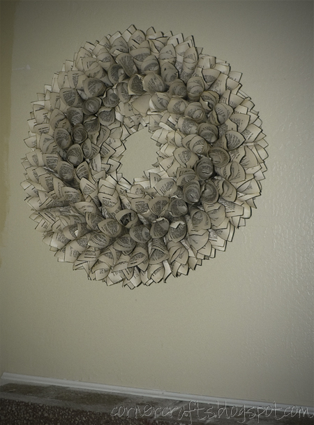 book wreath finishesd hanging