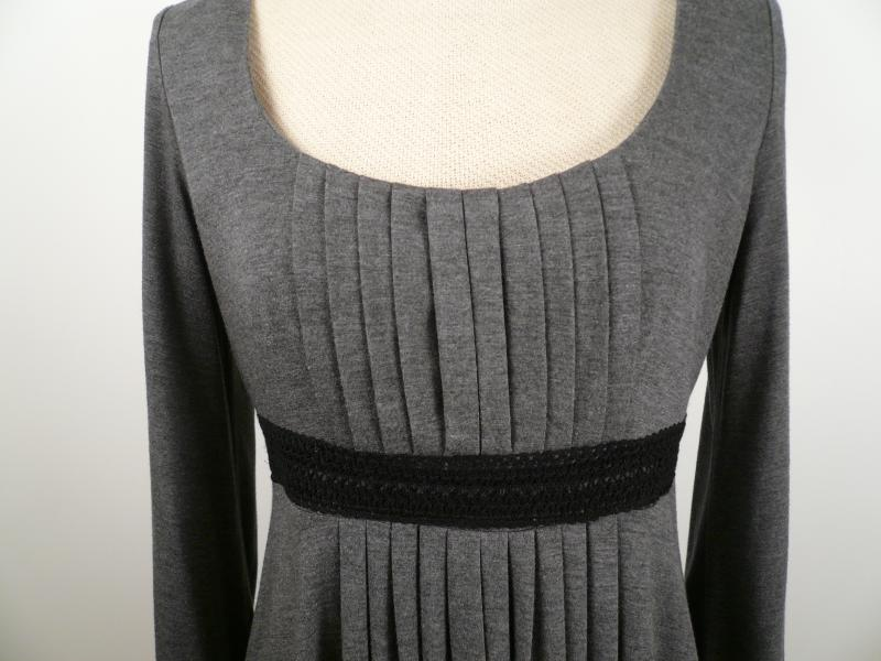 Grey_Knit_Pleated_Empire_Waist_Dress_Bust_Detail