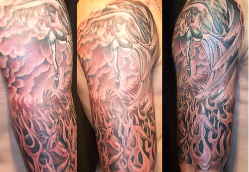 Angel Escaping Hell Quarter Sleeve Tattoo by Vince Wishart