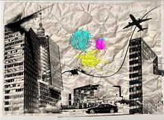 Colagens (Edda Carvalho) Tags: texture car photoshop airplane paint glue carro papel colagem avião tinta prédios role amassado
