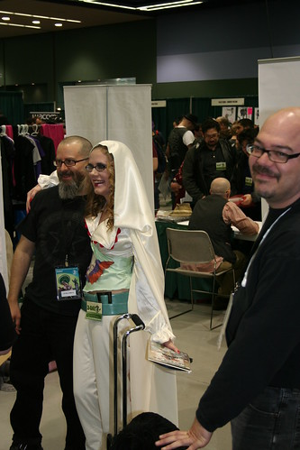 J.H. Williams III and Erica as Alice with Greg Rucka on the side
