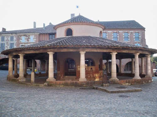 Restored medieval round market at Auvillar