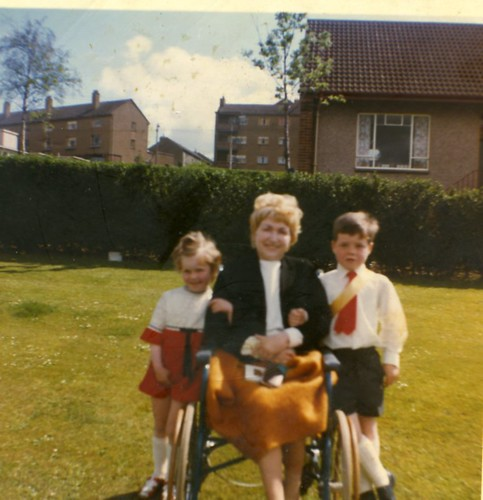 Stephanie and Arthur Vickery with Granny Lilly Vickery,  Cranhill Park , First Communion, 1970
