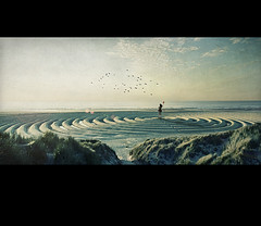 the new beginning (biancavanderwerf) Tags: woman beach birds circle sand dunes balloon beginning bianca dreamcatcher circlesoflife graphimaster
