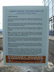 Sign explaining Cofferdam Dewatering