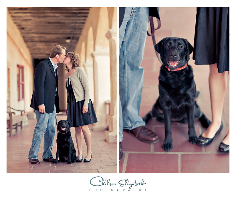 Santa barbara mission wedding photography vintage black puppy