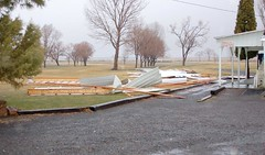 The roof was torn off  cart sheds and landed on the No. 1 tee box  at the Valley Golf Club in Hines. (Photo by RANDY PARKS)