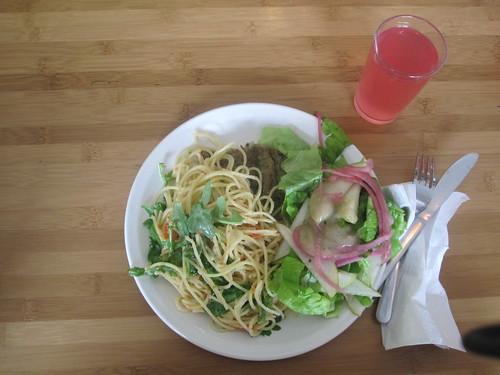 pasta, peas salad, lemonade - $6