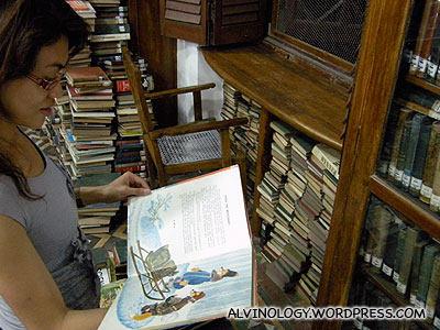 Rachel reading a vintage children picture book