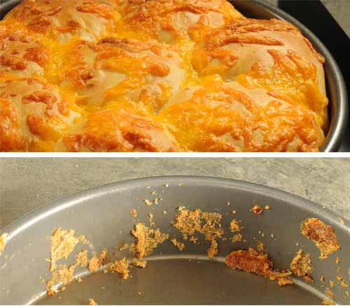 Cheesy Crusted Yeast Rolls --in a pan