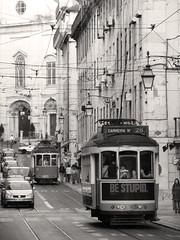 Lisboa (aesc_shots) Tags: street trip viaje blackandwhite bw blancoynegro portugal calle lisboa lisbon tram bn trams tramway tranvia thechallengefactory aescshots