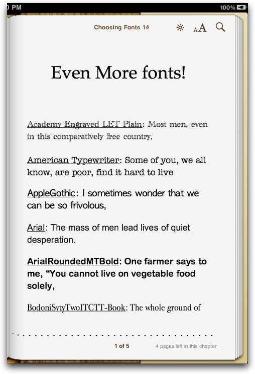 More fonts for iPad eBooks 1