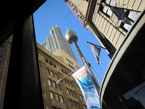 Sydney Tower (Space Needle) from Sydney Explorer Bus