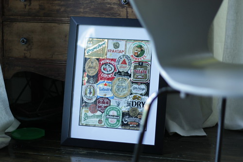 beer labels, now framed