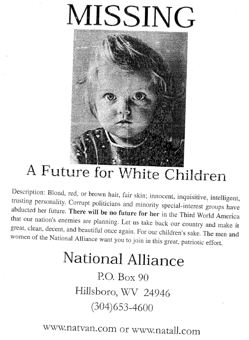 National Alliance racist poster