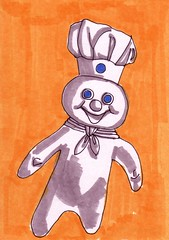Pillsbury Doughboy (Homemade Pop) Tags: art artwork artist folkart outsiderart folk originalart contemporary drawings pop popart homemade marker prints prismacolor foodart doodling 5x7 magicmarker foodpackaging pilotpen cheapart retroart brightart originalillustration quirkyart