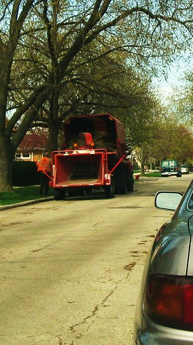 Village of Elmwood Park Department of Public Works crew with a mobile woodchipper machine. Elmwood Park Illinois. Early April 2010.