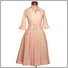 Vintage 1950s Dress. Shirtwaist Swing Dress. 2 belts for 2 different looks (Medium to Large) (Vindemial Vintage) Tags: house vintage clothing day dress peach swing 1950s 50s sheer circleskirt hourglassfigure shirtwaist