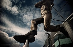 best foot forward (mugley) Tags: sky sculpture colour film feet sport statue headless bronze clouds 35mm legs stadium australia melbourne victoria scan cricket negative wires epson 135 vignetting bowler cloudporn mcg jolimont eastmelbourne c41 22mm v700 melbournecricketground cloudage vivitarultrawideandslim wideslim dennislillee supermarketfilm louislaumen eximus eximuswideandslim maybelucky shooterfun maybeferrania shooterfun400