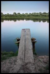 098 (AnkhaiStenn) Tags: wood bridge blue sunset sky water night evening wooden russia board platform wave bank ukraine shore russian ukrainian desna duckboard