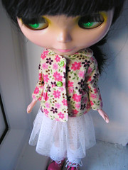 Handmade Blythe printed cordoroy jacket and double layer net skirt with gold scattered spots