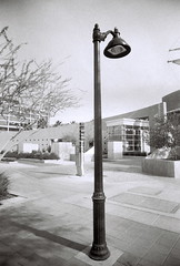 Street lamp (kevin dooley) Tags: street camera blackandwhite bw white black film lamp analog lens lomo lomography downtown slim angle kodak streetlamp tx trix wide arts center monotone plastic 400 artcenter cheap extra mesa ews mesaartscenter downtownmesa eximus eximuswideslim eximuswideandslim