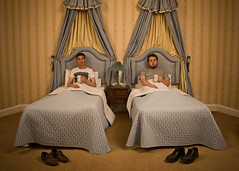// 52_Forty-eight // Eric and Ernie (Dz) Tags: hotel bed shoes tea cups bedtime strobist 53weeks