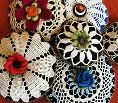 I have a lot of vintage crocheted doilies and tablecloths!! (woolly  fabulous) Tags: flowers wool pretty recycled felt zipper crocheted ecofriendly doilies pincushions thrifteromantic