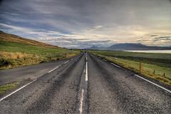 Road number 1 | Iceland #4 (Julien Ratel ( Jll Jnsson )) Tags: road blue sky mountain field clouds montagne canon landscape island iceland view tokina bleu route ciel nuages paysage vue hdr route1 champ hdri islande icelandic le ringroad hringvegurinn eyjafjallajkull landslag onth