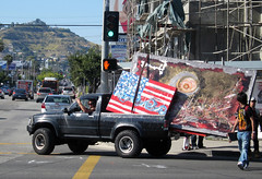 Random Art falling off Pickup at Melrose & Fairfax (andysternberg) Tags: california art truck painting found weird losangeles mural driving unitedstates rawk random americanflag pickup melrose hollywood fairfax crosswalk melrosetradingpost