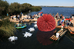 Climbable floating 13 ft dandelion made of pool noodles