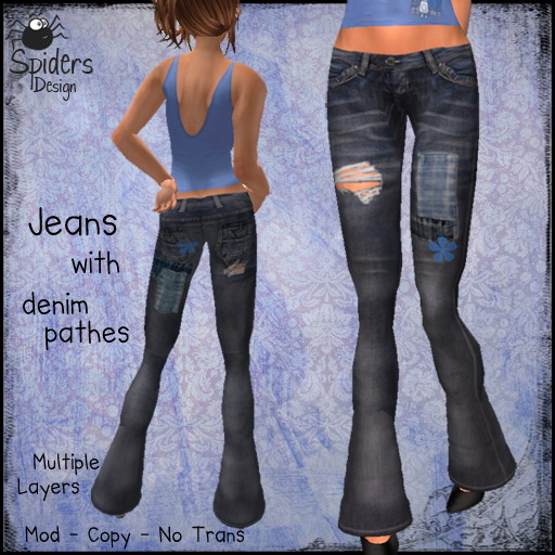 Jeans with Denim Patches