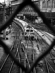 en voyage ... (philoufr) Tags: blackandwhite paris train noiretblanc tracks sncf voies garesaintlazare canonpowershots90