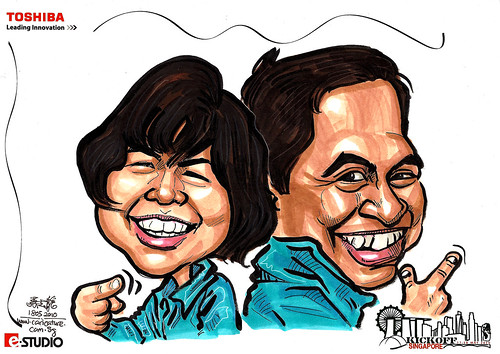 Caricature of Mr and Mrs Tantuico