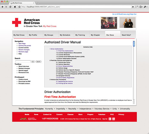 Red Cross wiki prototype screenshot
