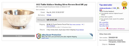 1953 Tuttle Wallace Sterling Silver Revere Bowl NR yqz Sold on eBay by Million Dollar Power Seller Norb Novocin User Name estateauctionsinc